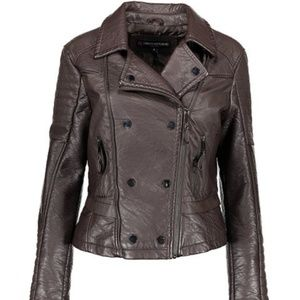 NEW Chocolate Brown Moto Vegan Leather Jacket Sz.L